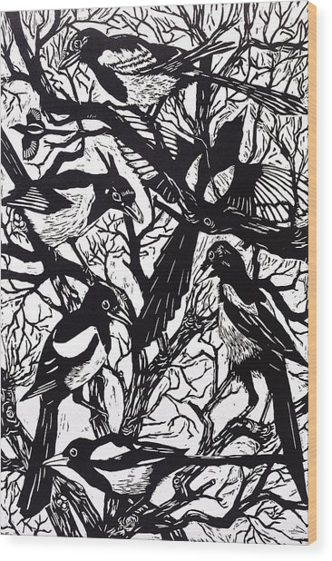 Magpies Wood Print