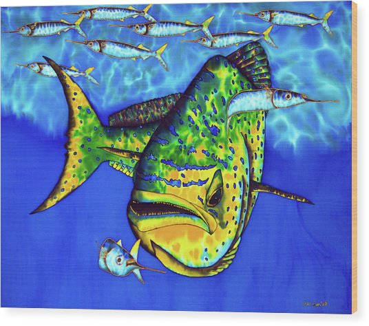 Mahi Mahi And Ballyhoo Wood Print