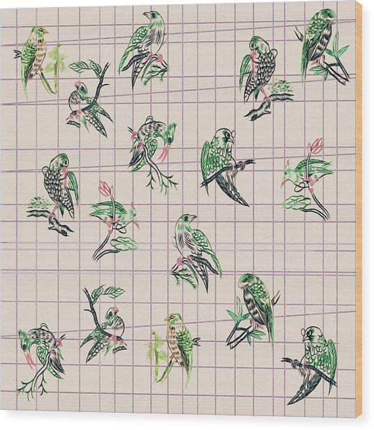 Mahjong Birds On Cream Wood Print