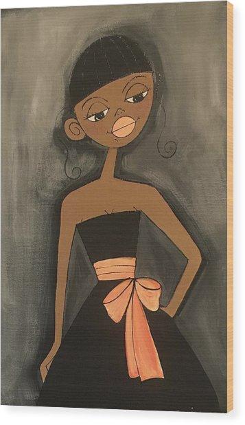 Maid Of Honor Black Dress Wood Print