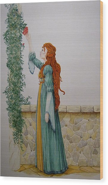 Maiden And The Rose Wood Print by Theresa Higby