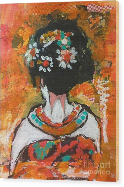 Maiko In Orange  Wood Print