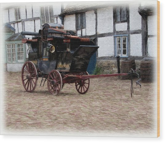 Wood Print featuring the digital art Mail Coach At Lacock by Paul Gulliver