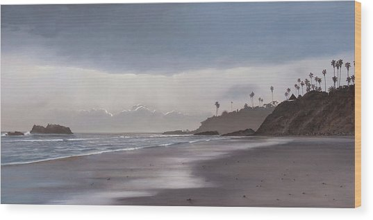 Main Beach Reflections Wood Print