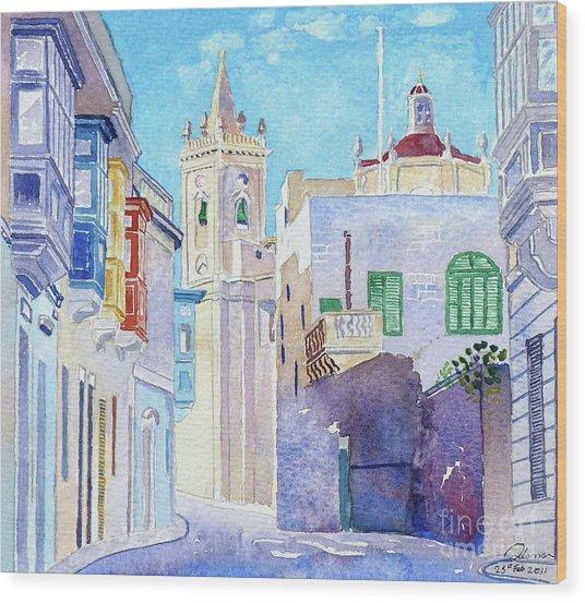 Main Street Balzan Malta Wood Print