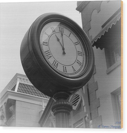 Main Street Clock Wood Print