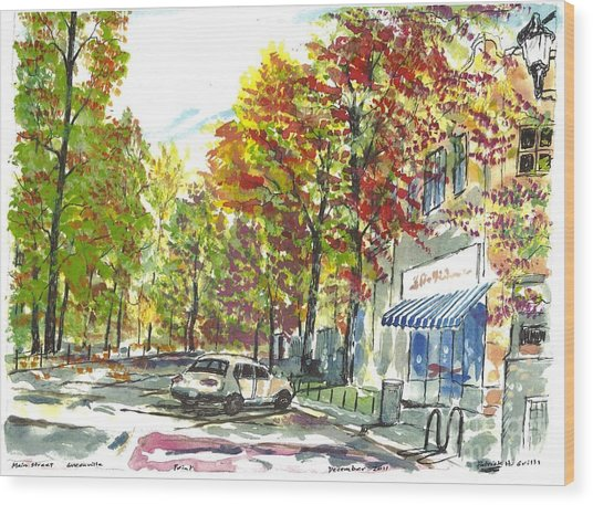 Main Street Greenville Fall Wood Print