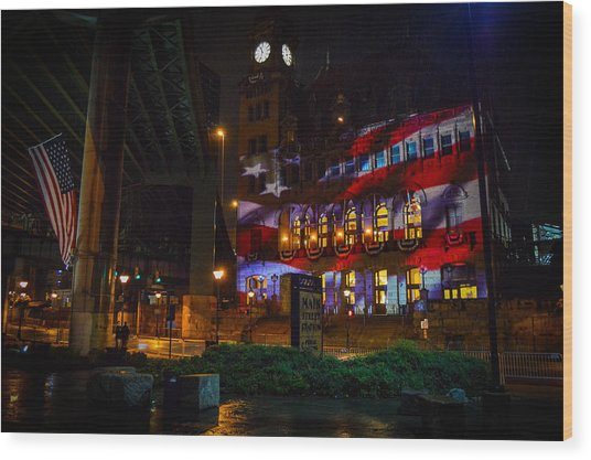 Main Street Station At Night Wood Print