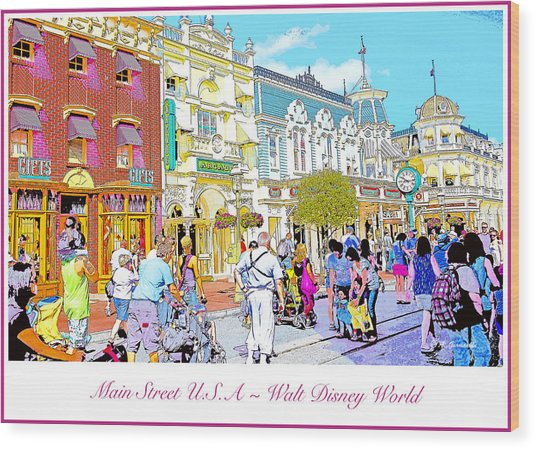 Main Street Usa Walt Disney World Poster Print Wood Print