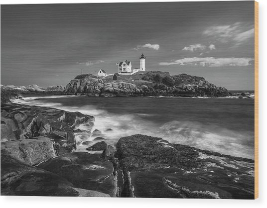 Maine Cape Neddick Lighthouse In Bw Wood Print