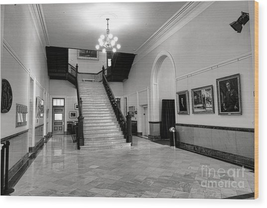 Maine Capitol West Wing Wood Print