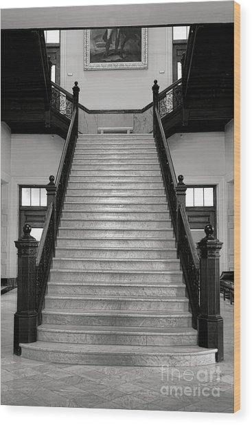 Maine Capitol West Wing Staircase Wood Print