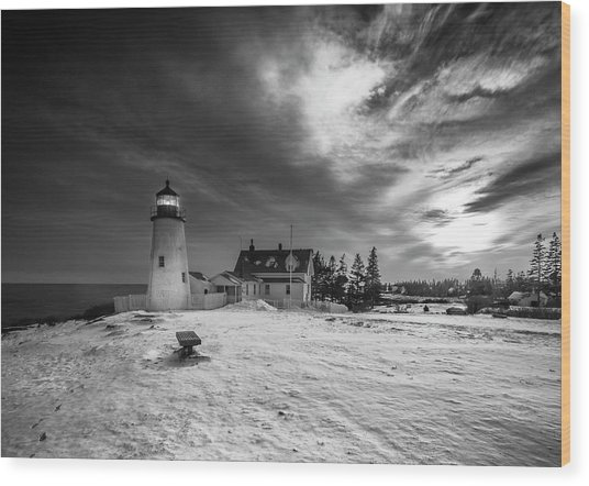 Maine Coastal Storm Over Pemaquid Lighthouse Wood Print