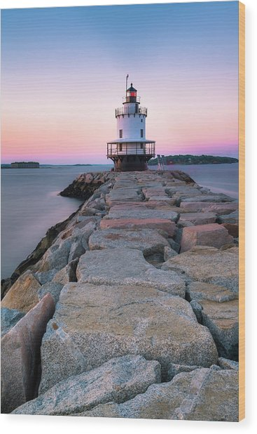 Maine Coastal Sunset Over The Spring Breakwater Lighthouse Wood Print