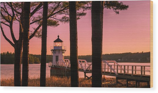 Maine Doubling Point Lighthouse At Sunset Panorama Wood Print