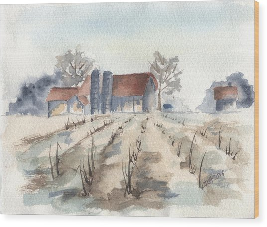 Maine Farm Wood Print by Jan Anderson