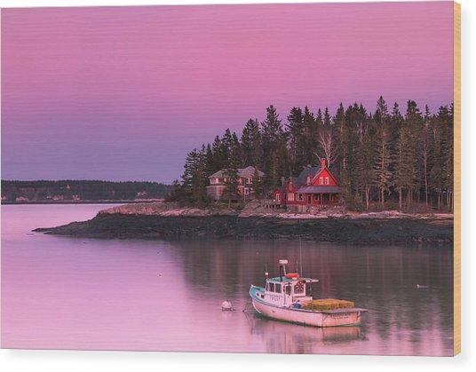 Maine Five Islands Coastal Sunset Wood Print