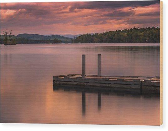 Maine Highland Lake Boat Ramp At Sunset Wood Print