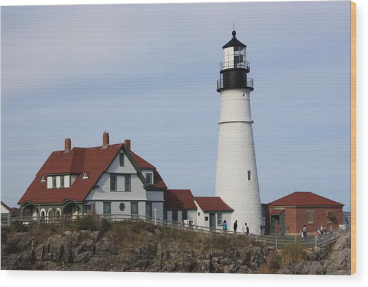 Maine Light House Wood Print by Sue Mayor
