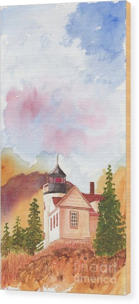 Maine Lighthouse In Morning Light Wood Print
