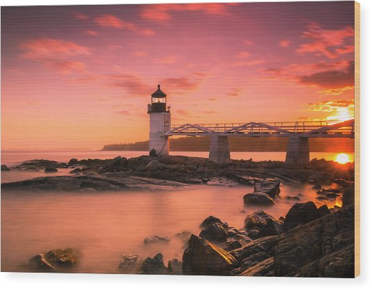 Maine Lighthouse Marshall Point At Sunset Wood Print