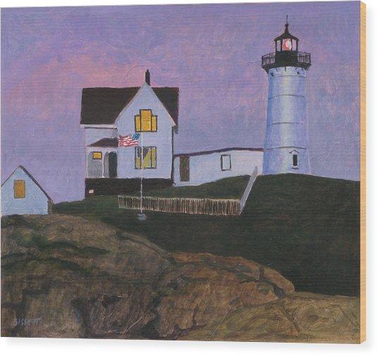 Maine Lighthouse Wood Print by Robert Bissett