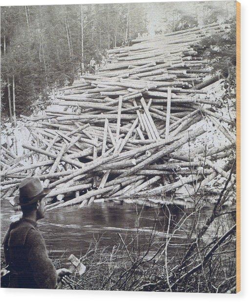 Maine Logging -  C 1903 Wood Print