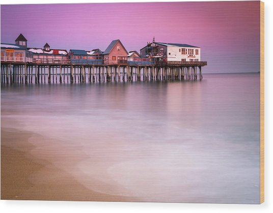 Maine Old Orchard Beach Pier Sunset  Wood Print