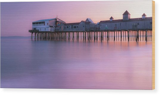Maine Oob Pier At Sunset Panorama Wood Print