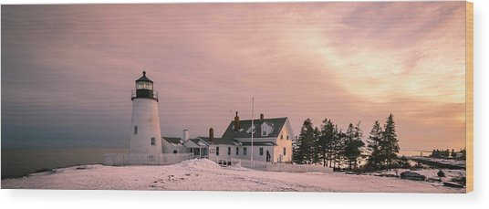Maine Pemaquid Lighthouse After Winter Snow Storm Wood Print