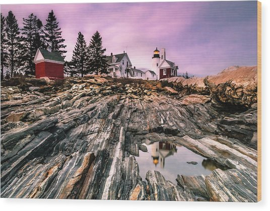Maine Pemaquid Lighthouse Reflection In Summer Wood Print