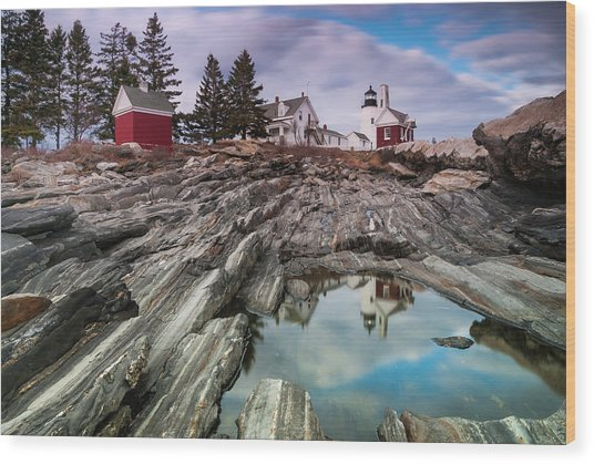 Maine Pemaquid Lighthouse Reflection Wood Print