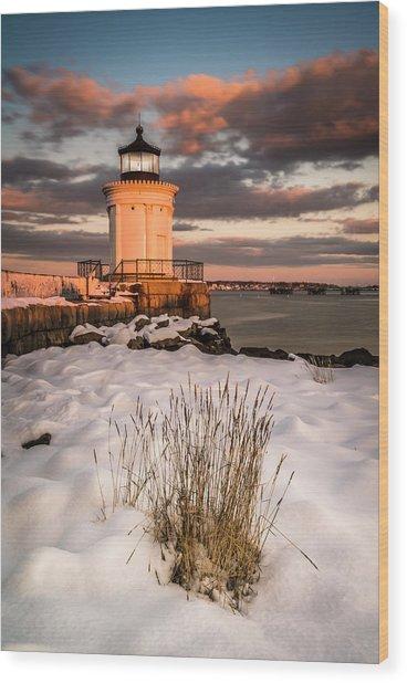 Maine Portland Bug Light Lighthouse Sunset  Wood Print