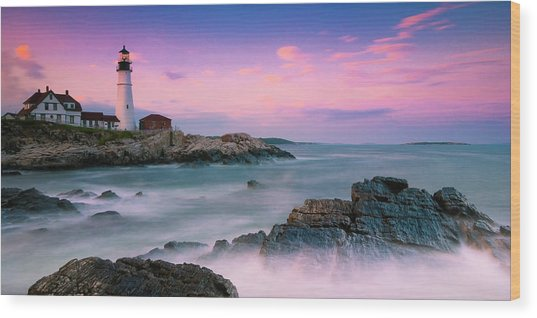 Maine Portland Headlight Lighthouse At Sunset Panorama Wood Print