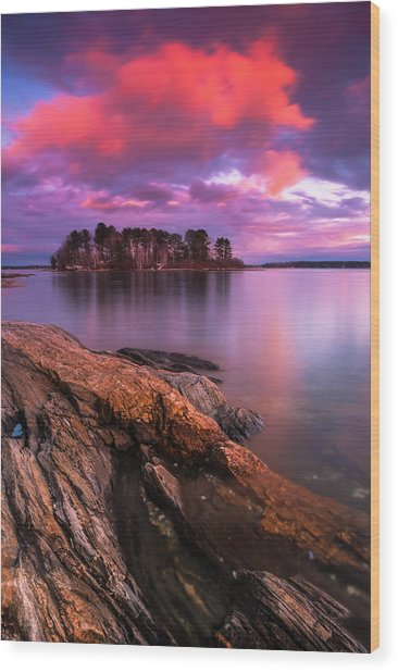 Maine Pound Of Tea Island Sunset At Freeport Wood Print