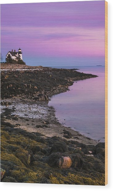 Maine Prospect Harbor Lighthouse Sunset In Winter Wood Print