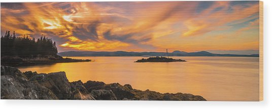 Maine Rocky Coastal Sunset In Penobscot Bay Panorama Wood Print