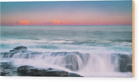 Maine Rocky Coastal Sunset Panorama Wood Print