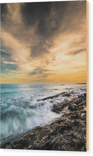 Maine Rocky Coastal Sunset Wood Print