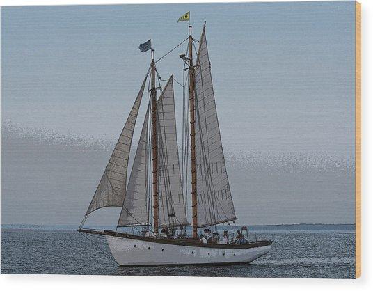 Maine Schooner Wood Print