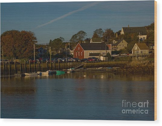 Maine- Seaports In Fall Wood Print
