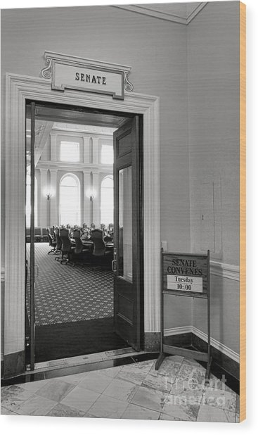 Maine Senate Chamber Doorway Wood Print
