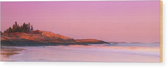 Maine Sheepscot River Bay With Cuckolds Lighthouse Sunset Panorama Wood Print