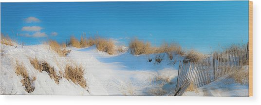 Maine Snow Dunes On Coast In Winter Panorama Wood Print