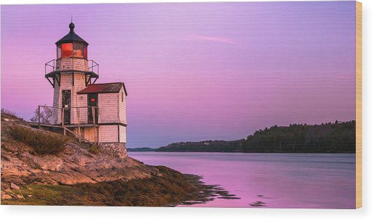 Maine Squirrel Point Lighthouse On Kennebec River Sunset Panorama Wood Print