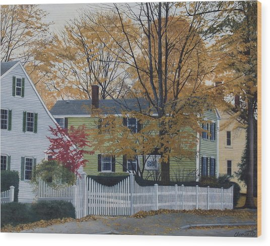 Autumn Day On Maine Street, Kennebunkport Wood Print