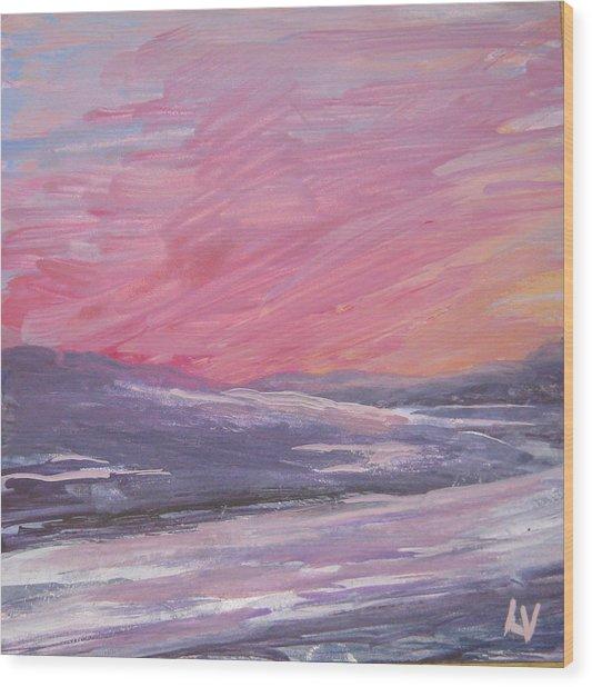 Maine Sunset Wood Print by Lynne Vokatis
