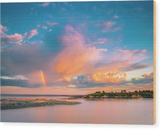 Maine Sunset - Rainbow Over Lands End Coast Wood Print