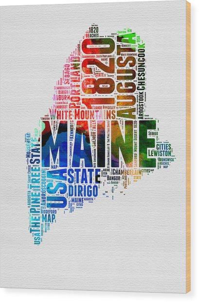 Maine Watercolor Word Cloud  Wood Print