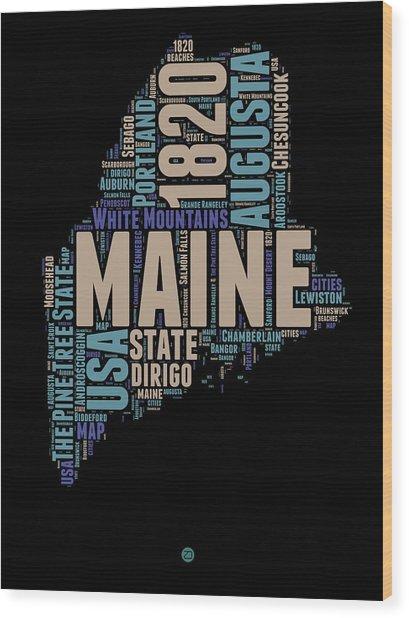 Maine Word Cloud 1 Wood Print